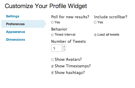 Create WordPress Twitter Widget - Enter Preferences