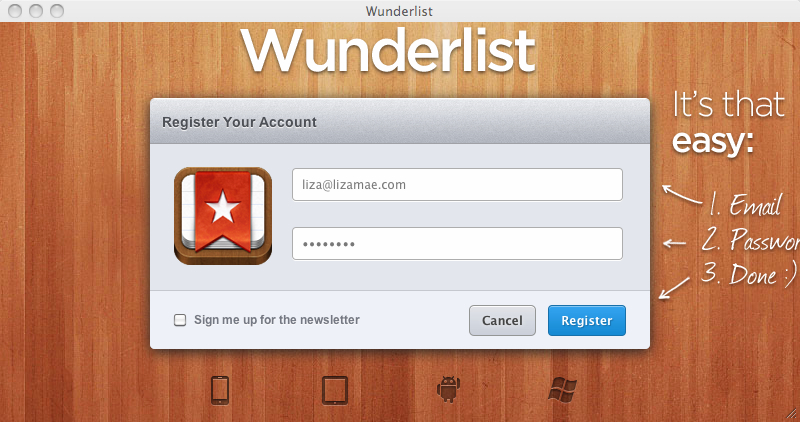 Wunderlist - Register Screen