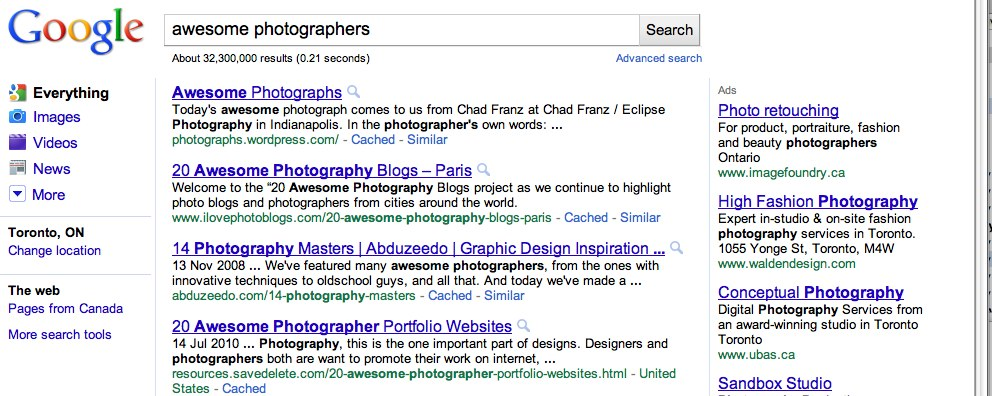 Google Search - Awesome Photographers